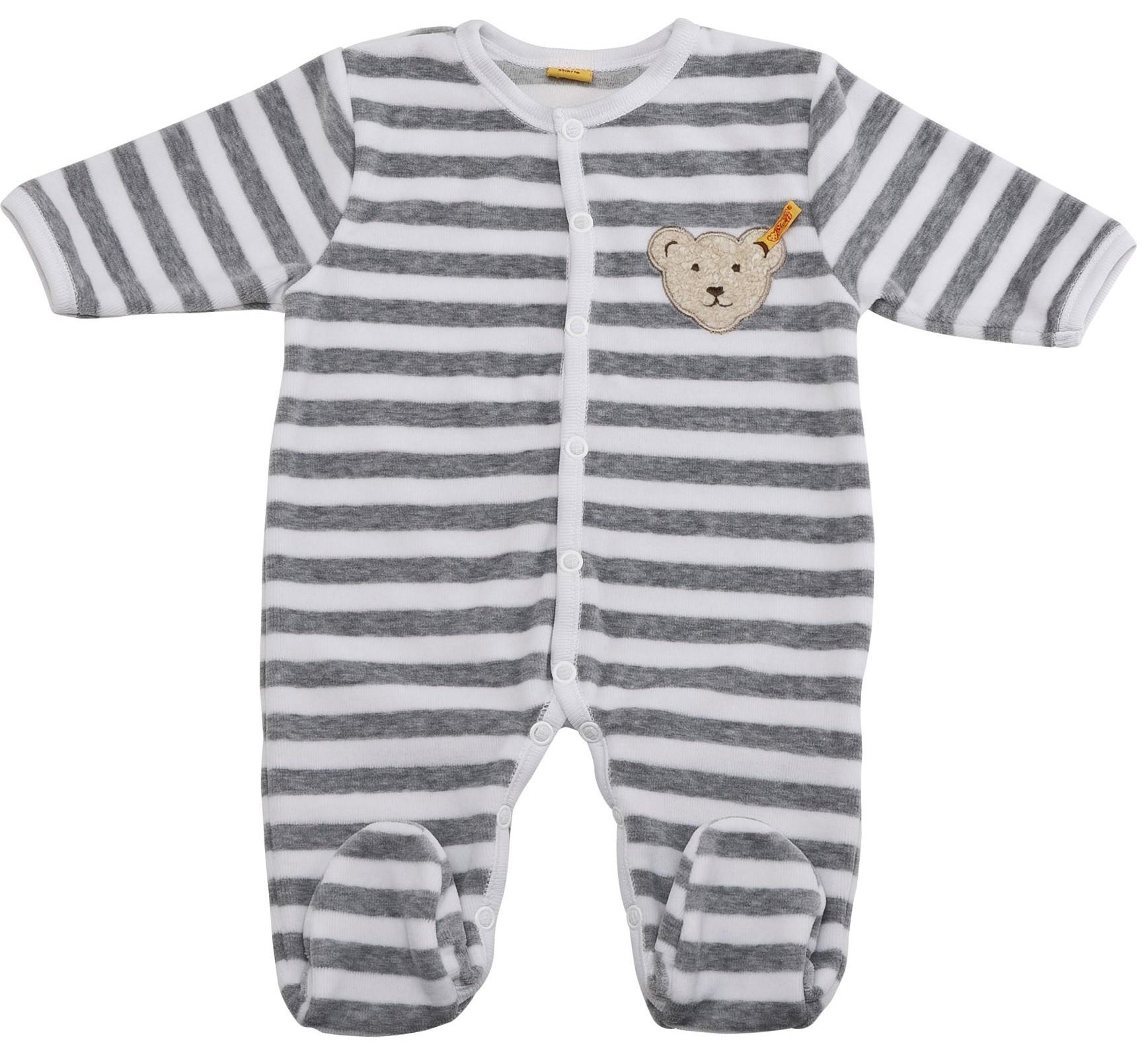 steiff baby nicky strampler schlafanzug gestreift grau. Black Bedroom Furniture Sets. Home Design Ideas